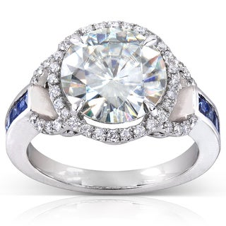 Annello 14k White Gold Round-cut Moissanite, Square-cut Sapphire and 1/4 ct TDW Diamond Engagement Ring