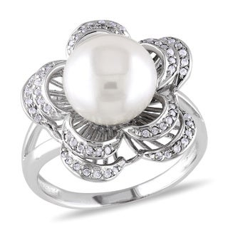 M by Miadora Sterling Silver White Pearl and Cubic Zirconia Flower Ring (9-10 mm)
