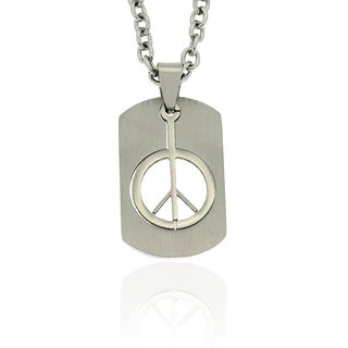 Gravity Stainless Steel Cutout Peace Sign Dog Tag Necklace