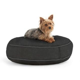 DogSack Round Memory Foam Black Microsuede Pet Bed