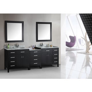 London Collection Espresso 92-inch Double Sink Vanity Set