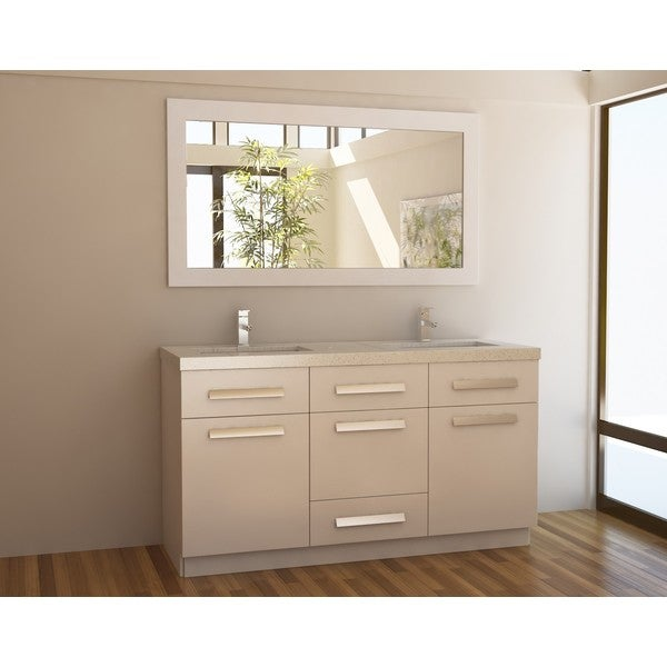 Moscony White 60 Inch Double Sink Vanity Set Overstock Shopping Great Deals On Bathroom Vanities