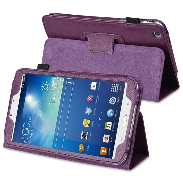 INSTEN Purple Leather Tablet Case Cover with Stand for Samsung Galaxy Tab 3 8.0