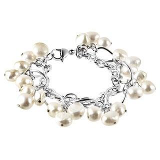 ELYA Stainless Steel Freshwater Pearl Link Bracelet (9-10 mm)