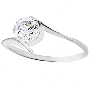 Stainless Steel Round Cubic Zirconia Solitaire Ring