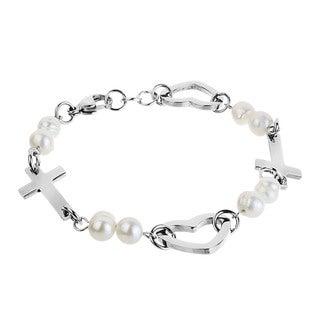 ELYA Steel FW Pearl Side Cross and Heart Bracelet (5-6 mm)