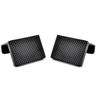 Black-plated Stainless Steel Textured Design Cuff Links