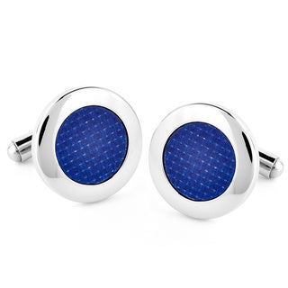 Stainless Steel Round Blue Carbon Fiber Inlay Cuff Links