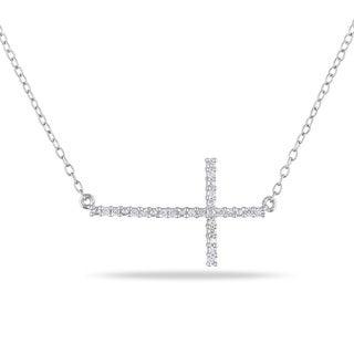Haylee Jewels Sterling Silver 1/10ct TDW Sideways Diamond Cross Necklace (H-I, I2-I3)
