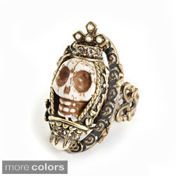 Sweet Romance Bronzetone Crystal and Faux Pearl Skull Queen Ring