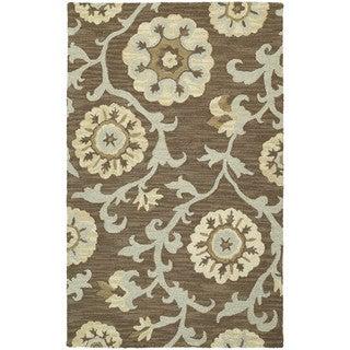 Zoe Light Brown Suzani Hand-tufted Wool Rug (8' x 10')