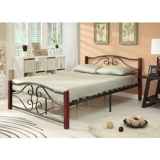 Black and Cherry Finish Headboard and Footboard Bed Frame