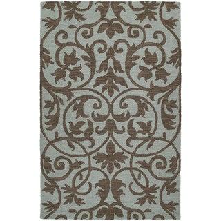 Zoe Scroll Blue Hand Tufted Wool Rug (9'0 x 12'0)