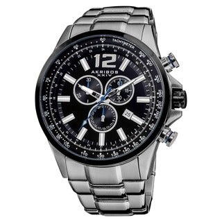 Akribos XXIV Men's Water-resistant Swiss Quartz Chronograph Tachymeter Stainless Steel Bracelet Watch