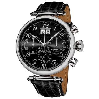 Akribos XXIV Men's Quartz Chronograph Leather Strap Watch