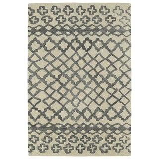 Hand-tufted Utopia Prints Grey Wool Rug (9'6 x 13'6)