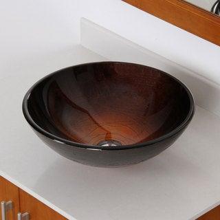 Elite Modern Design Tempered Glass Bathroom Vessel Sink