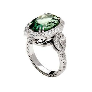 18k White Gold Oval-cut Mint Green Tourmaline and 1 1/4ct TDW Diamond Halo Ring (G-H, VS1-VS2)
