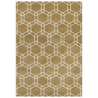 Handmade Bright Gold New Zeeland Blend Wool Area Rug (8' x 10')