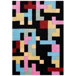 Handmade Black Abstract New Zealand Blend Wool Area Rug (5' x 8')