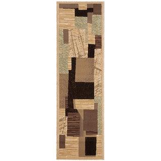 Nourison Modesto Abstract Beige Runner Rug (2'2 x 7'3)