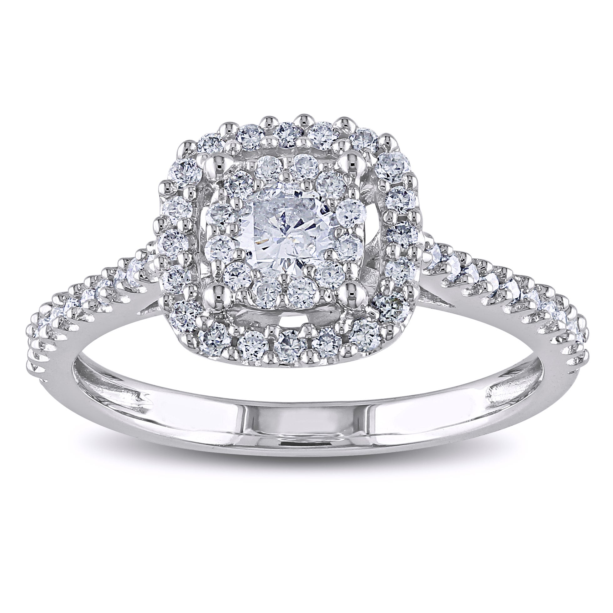 Miadora 10k White Gold 1/2ct TDW Round Cut Multi Stone