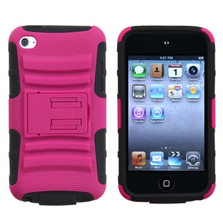 INSTEN Hot Pink/ Black Armor Stand iPod Case Cover for Apple iPod touch 4