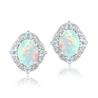 Glitzy Rocks Sterling Silver Opal, Blue Topaz and Diamond Oval Earrings (I-J, I2-I3) 1 7/8 carat TGW
