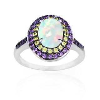 Glitzy Rocks Sterling Silver Opal, Peridot and Amethyst Oval Ring