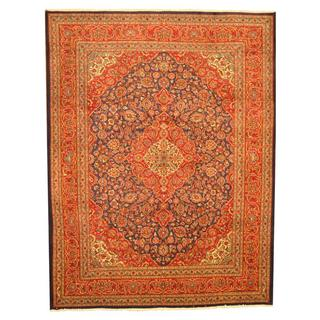 Persian Hand-knotted Kashan Navy/ Red Wool Rug (9'9 x 12'10)
