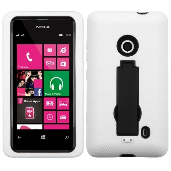 INSTEN Black/ White Phone Case Cover with Stand for Nokia Lumia 521