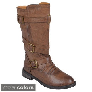 Journee Collection Women's 'Faith' Buckles Mid-Calf Moto Motorcycle Boot