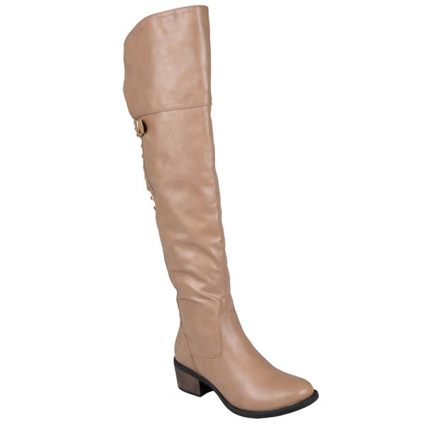Journee Collection Women's 'Berry' Over-The-Knee Buckle-Strap Studded Boots
