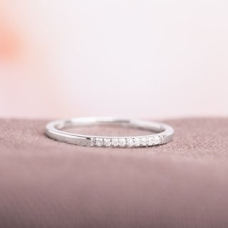 Haylee Jewels 10k White Gold Thin Stackable Diamond Band Ring (H-I, I1-I2)