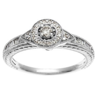 Sofia 10k White Gold 1/4ct TDW Halo Round and Baguette Diamond Ring (I, I2)