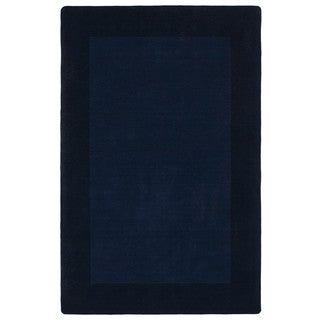Borders Hand-Tufted Navy Wool Rug (8'0 x 10'0)