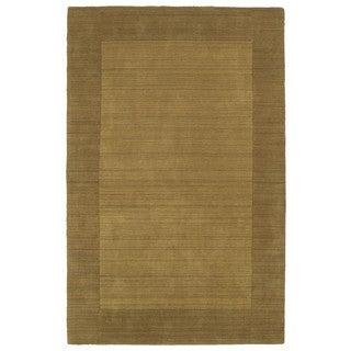 Borders Hand-Tufted Yellow Wool Rug (8'0 x 10'0)