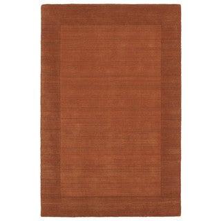 Borders Hand-Tufted Orange Wool Rug (8'0 x 10'0)