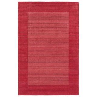 Borders Hand-Tufted Watermelon Wool Rug (8'0 x 10'0)