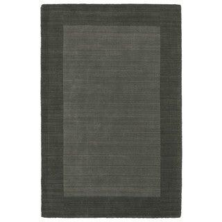 Borders Hand-Tufted Grey Wool Rug (8'0 x 10'0)