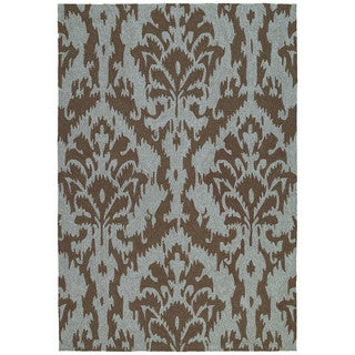 Seaside Chocolate Ikat Indoor/ Outdoor Rug (9' x 12')
