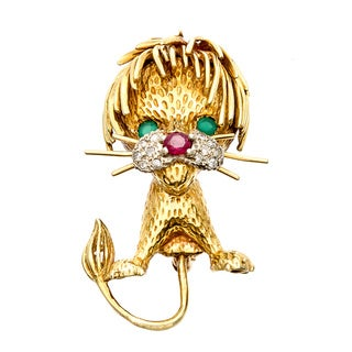 Pre-owned 18k Gold Emerald, Ruby and 1/10ct TDW Diamond Leo Lion Brooch (I-J, SI1-SI2)