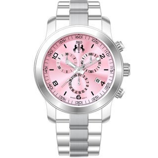 Jivago Women's Infinity Stainless Steel Pink Dial Chronograph Watch