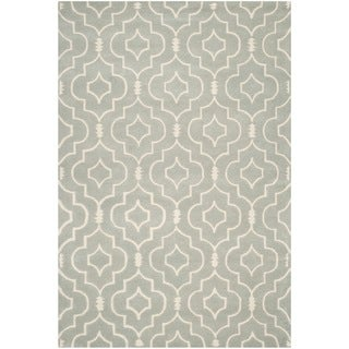 Safavieh Handmade Moroccan Chatham Canvas-backed Gray/ Ivory Wool Rug (8' x 10')