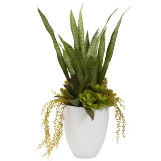 30-inch Mixed Succulent and White Planter