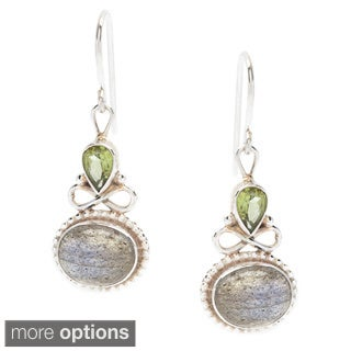 Sterling Silver Chalcedony and Iolite Drop Earrings (Nepal)