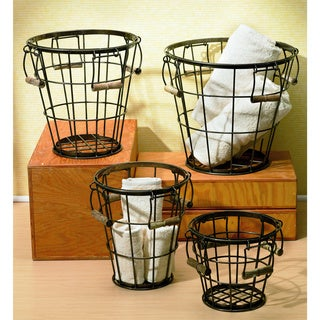 Round Iron Baskets with Wood Handles (Set of 4)