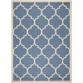Safavieh Indoor/ Outdoor Courtyard Trellis-pattern Blue/ Beige Rug (5'3'' x 7'7'')