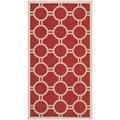 Safavieh Indoor/ Outdoor Courtyard Geometric-pattern Red/ Bone Rug (2'7 x 5')