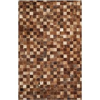 Safavieh Hand-woven Studio Leather Brown/ Light Brown Leather Rug (8' x 10')